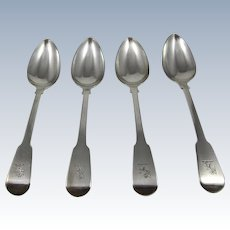 Set of 4 Coin Silver Dessert Spoons
