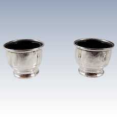 A Pair Of Sterling Silver Salts with Cobalt Blue Liners