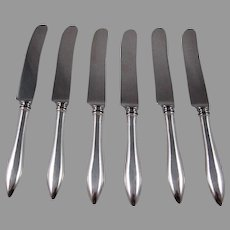 "Set Of 6 Sterling Silver Handle ""Rat Tail"" Dinner Knives With Stainless Steel Blades"