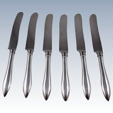 """Set Of 6 Sterling Silver Handle """"Rat Tail"""" Dinner Knives With Stainless Steel Blades"""