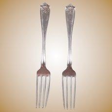 Two Tiffany Sterling Silver Dinner Forks Winthrop Pattern