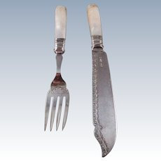 English Sterling Silver & Mother of Pearl Fork and Knife Fish Set
