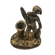Vintage Figural Brass Match Holder & Striker with Fisherman Fish & Basket