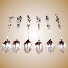 Set of 6 Silver Figural Musician Spoons Sword Mark .833 Dutch 82 Grams