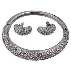 Gorgeous Christian Dior Silver Tone Pave Rhinestone Bracelet & Pierced Earrings