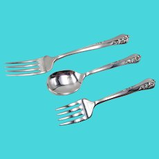 3 Piece Baby Youth Fork Spoon Set Engagement by Oneida Community Sterling Silver