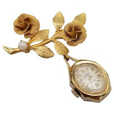 Vintage Gold Tone Flower Brooch Pin w/ Faux Pearl Louis 17 Jewels Watch and Box