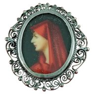 Vintage Hand Painted 800 Silver Pin Brooch Pendant St. Fabiola Henner Filigree