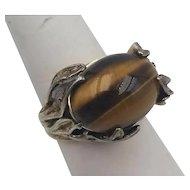 Rare Jens Petersen Tigers Eye Sterling Silver Ring 1912-1937 Art Nouveau Sz 7.5