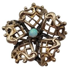 """Victorian Flower Brass Brooch Pin with Faux Opal & C Clasp 7/8"""" in Diameter"""