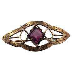 """Victorian Brass Brooch Pin with Purple Faux Amethyst C Clasp 1 1/4"""" x 5/8"""""""