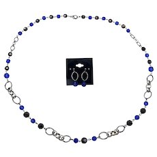"""Gorgeous Matching Blue and Silver Bead Necklace and Pierced Earrings Set 32"""""""