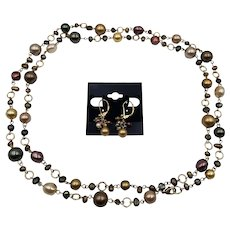 Gorgeous Bronze Grey Brown Faux Pearls Bead Necklace and Pierced Earrings Set