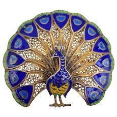 """Vintage Peacock Brooch Pin Vermeil Enamel Filigree Made in Portugal 1.5"""" x 1 3/4"""