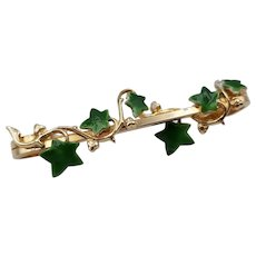 Pretty Vintage Gold Tone & Green Enamel Leaves Leaf Ivy Safety Pin Style 2""