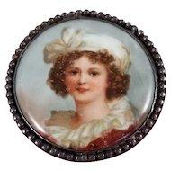 Porcelain & Sterling Silver Brooch Pin Self Portrait Vigee Le Brun / LeBrun