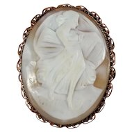 Large Shell Cameo Gold Filled Brooch Pin ~ Terpsichore Muse Greek Mythology