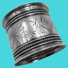 Gorham Floral Bright Cut Sterling Silver Napkin Ring 22 grams Old Mark 1852-1865