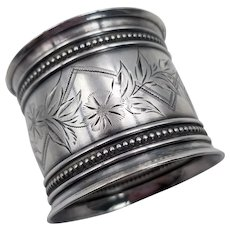 Gorham Floral Bright Cut Sterling Silver Napkin Ring 22 grams Old Mark 1852-1865