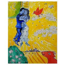"Surrealism Original Painting After Marc Chagall Gouache & Ink on Paper 8x10"" Lovers & Daisies"