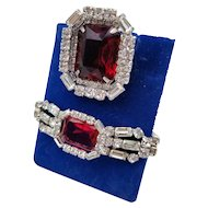 1950s Signed Dior by Kramer NY Red Rhinestone Fur Clip / Pin & Bracelet Set