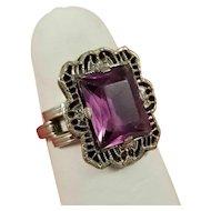 Art Deco Sterling Silver Filigree Purple Glass Ring JJ White Size 4.5