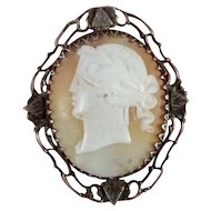 Carved Shell Cameo Brooch Pin ~ Rare Left Facing Greek Mythology Woman Portrait