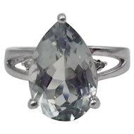 Gorgeous 5 Carat Green Amethyst Prasiolite w/ Diamonds Sterling Silver Ring Sz 8