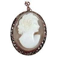 Beautiful Vintage Genuine Shell Cameo Sterling Silver Necklace with Marcasites