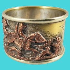 Silverplate Napkin Ring Figural Brass Copper Hunting Scene 1 1/4""