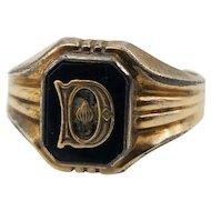 Vintage Art Deco Faux Onyx D Initial Signet Ring 10 Karat Gold Filled Size 9 1/2