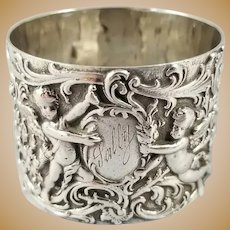 Victorian 800 Silver Napkin Ring w/ Elaborate Floral & Cupid Design 46 grams!