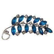 "Large Kramer Sterling Silver Leaf Brooch Pin w/ Blue Paste Rhinestones 3 1/8"""