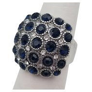 Sterling Silver Blue Paste & Rhinestone Cluster Cocktail Ring Size 8