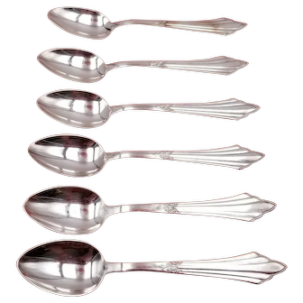 """Set of 6 Vintage Silverplate Demitasse Spoons ~ Facher by WMF Germany 4 1/4"""""""