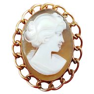Carved Shell Cameo 12K Gold Filled Brooch / Pin Portrait of Woman