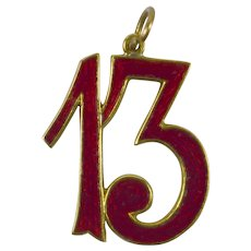 Lucky 13 Gold Enamel Charm