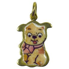 Enamel Gold Puppy Charm