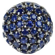 Sapphire Diamond Bombe Dome Cocktail Ring, circa 1960