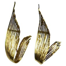 Sterlé 1950s Gold Feather Clip Brooch Pair