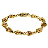 18kt Gold, Natural Pearl and Ruby Link Bracelet c.1900