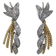 18KT Gold and Diamond Drop Earrings c.1960