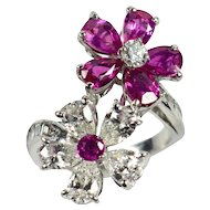 Ruby and diamond flower ring c.1960