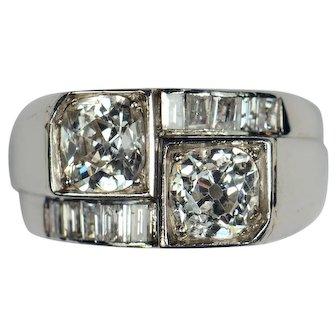 French Art Deco Diamond Platinum Crossover Ring circa 1930