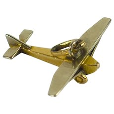 Vintage French Airplane Plane Yellow Gold Charm Pendant