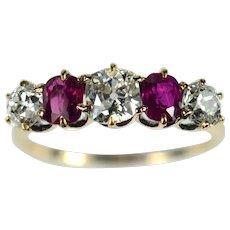 Edwardian Burmese Ruby Diamond Five Stone Ring