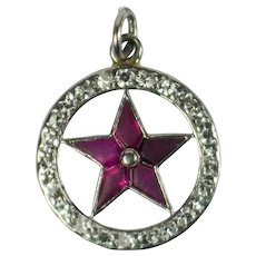 Cartier Ruby Diamond Platinum Lucky Star Charm