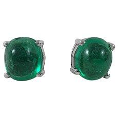 Colombian Emerald Cabochon Stud Earrings