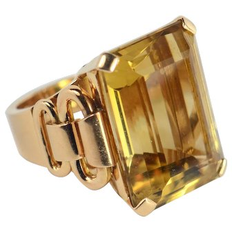 French Retro Citrine 18kt Rose Gold Ring circa 1940