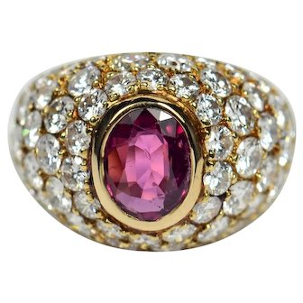 French Ruby Diamond 18kt Gold Bombe Ring circa 1950